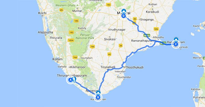 Rameshwaram Tour Package with Kanyakumari & Madurai